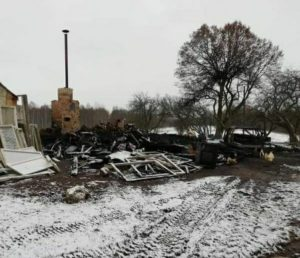 Многодетная семья Дерюгиных. Сгорел дом до тла.
